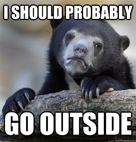 i should probably go outside - Confession Bear