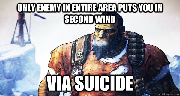 only enemy in entire area puts you in second wind via suicid - Borderlands Problems