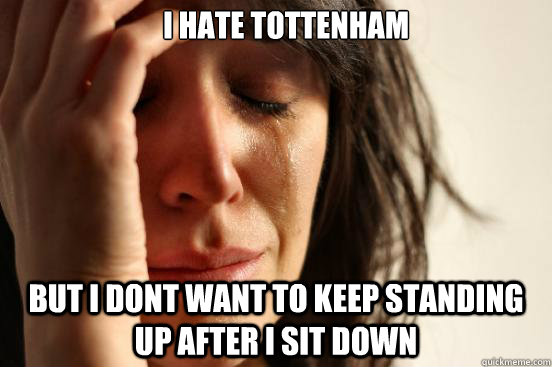 i hate tottenham but i dont want to keep standing up after - First World Problems