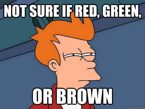 not sure if red green or brown - Futurama Fry