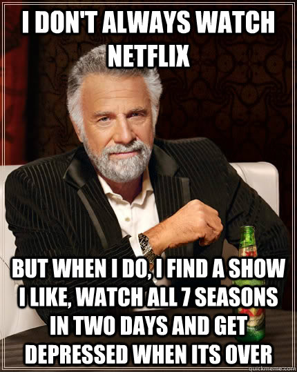 i dont always watch netflix but when i do i find a show i  - The Most Interesting Man In The World