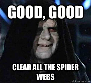 good good clear all the spider webs - Happy Emperor Palpatine