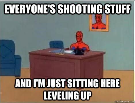 everyones shooting stuff and im just sitting here leveling - Spiderman Desk