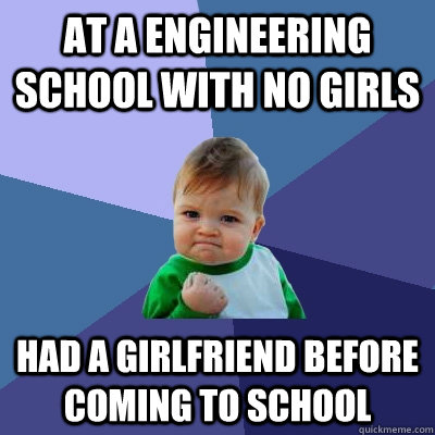 at a engineering school with no girls had a girlfriend befor - Success Kid