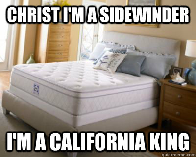 christ im a sidewinder im a california king -