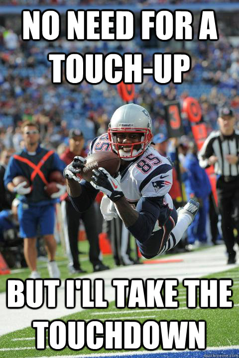 no need for a touchup but ill take the touchdown - photogenic Brandon Lloyd