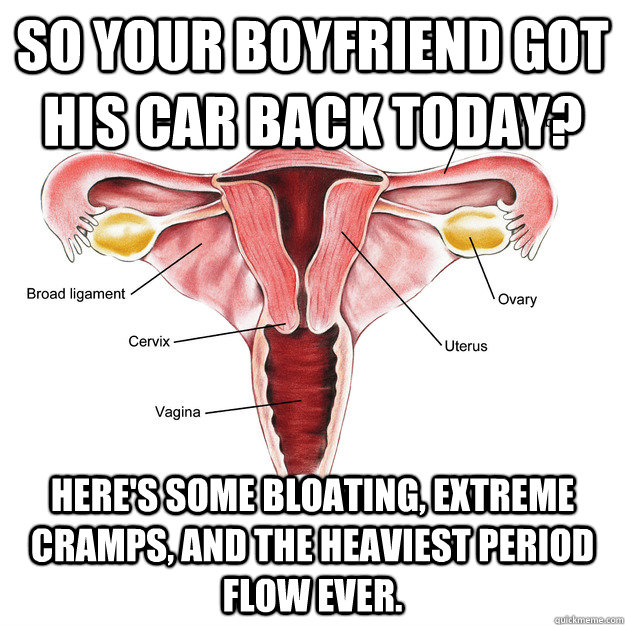 so your boyfriend got his car back today heres some bloati - Scumbag Uterus