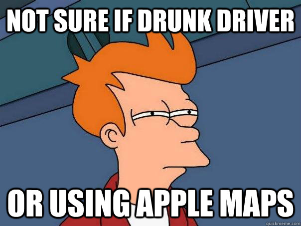 not sure if drunk driver or using apple maps - Futurama Fry