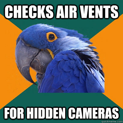 checks air vents for hidden cameras - Paranoid Parrot