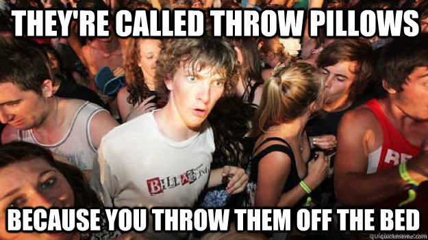 theyre called throw pillows because you throw them off the  - Clarity Clarence