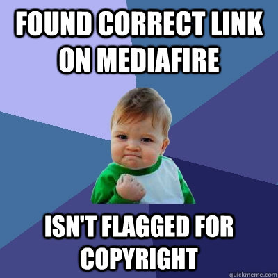 found correct link on mediafire isnt flagged for copyright - Success Kid