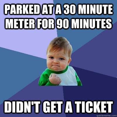 parked at a 30 minute meter for 90 minutes didnt get a tick - Success Kid