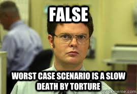 false worst case scenario is a slow death by torture - Dwight False