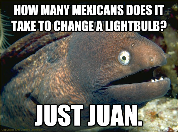how many mexicans does it take to change a lightbulb just j - Bad Joke Eel