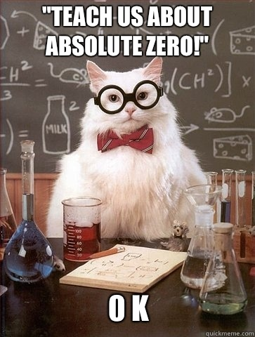 Teach us about absolute zero 0 K - Chemistry Cat