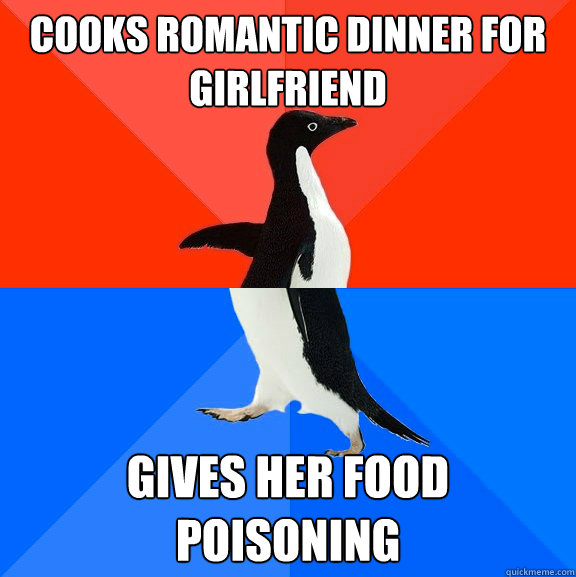 cooks romantic dinner for girlfriend gives her food poisonin - Socially Awesome Awkward Penguin