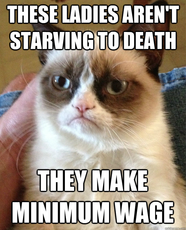 these ladies arent starving to death they make minimum wage - Grumpy Cat