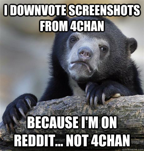 i downvote screenshots from 4chan because im on reddit n - Confession Bear