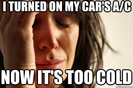 i turned on my cars ac now its too cold - First World Problems