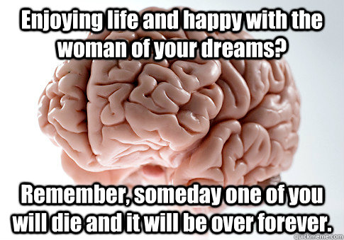 enjoying life and happy with the woman of your dreams remem - Scumbag Brain