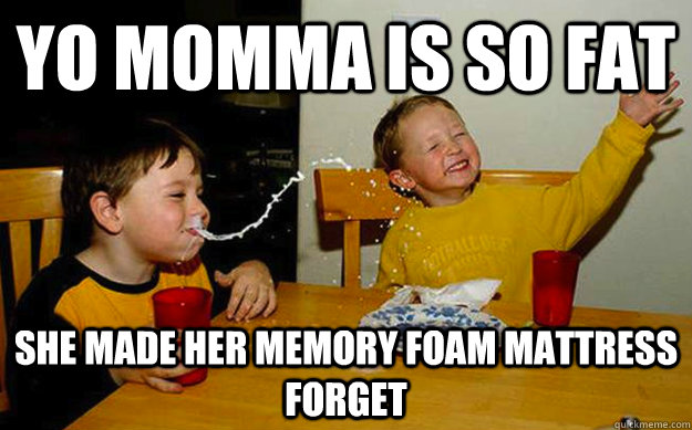 yo momma is so fat she made her memory foam mattress forget - Milk spit
