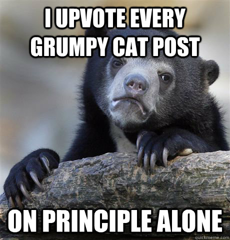 i upvote every grumpy cat post on principle alone - Confession Bear