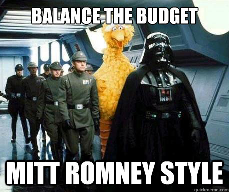 balance the budget mitt romney style - Big Bird