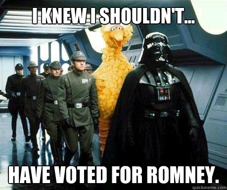 i knew i shouldnt have voted for romney - Big Bird