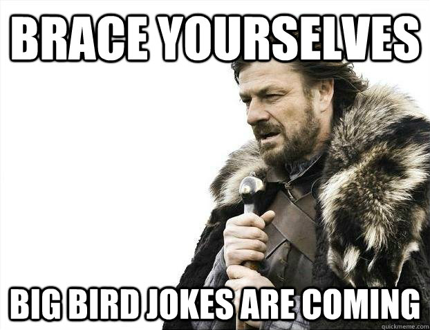 brace yourselves big bird jokes are coming - Brace yourselves