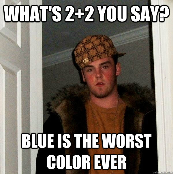 whats 22 you say blue is the worst color ever - Scumbag Steve