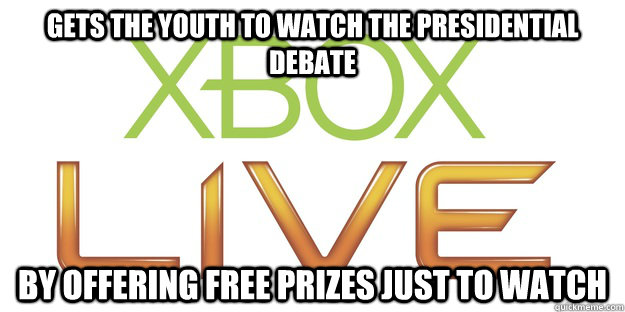 gets the youth to watch the presidential debate by offering  -
