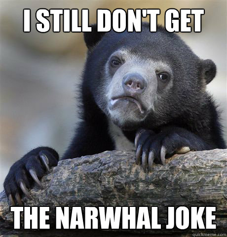 i still dont get the narwhal joke - Confession Bear