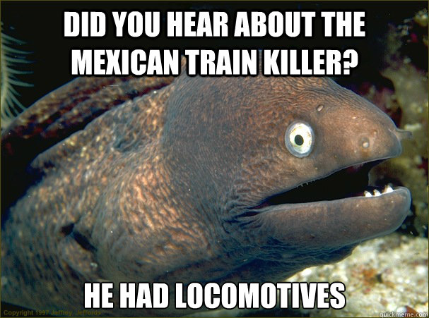 did you hear about the mexican train killer he had locomoti - Bad Joke Eel