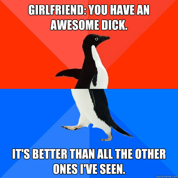 girlfriend you have an awesome dick its better than all t - Socially Awesome Awkward Penguin