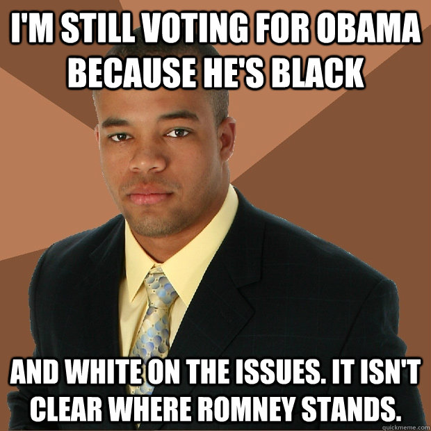 im still voting for obama because hes black and white on t - Successful Black Man