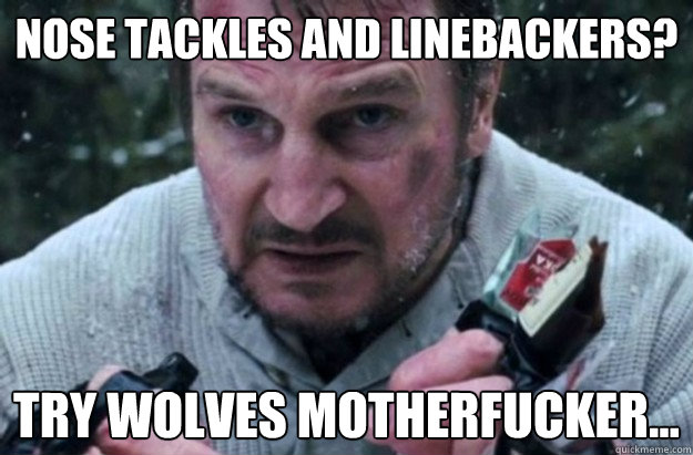 nose tackles and linebackers try wolves motherfucker - Liam Neeson Aint Havin It
