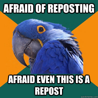 afraid of reposting afraid even this is a repost - Paranoid Parrot
