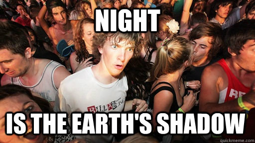 night is the earths shadow - Sudden Clarity Clarence