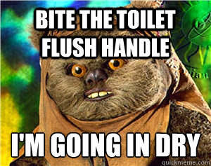 bite the toilet flush handle im going in dry  - Rape Ewok