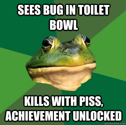 sees bug in toilet bowl kills with piss achievement unlocke - Foul Bachelor Frog