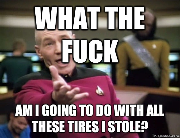 What the fuck Am I going to do with all these tires I stole - Annoyed Picard HD