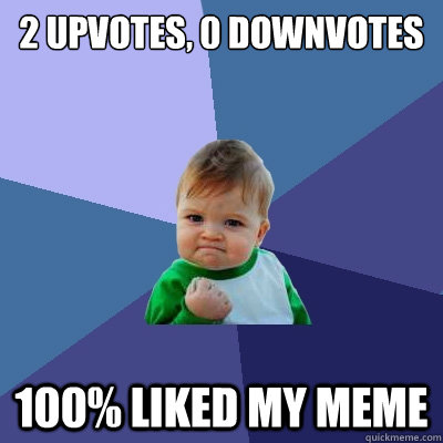 2 upvotes 0 downvotes 100 liked my meme - Success Kid