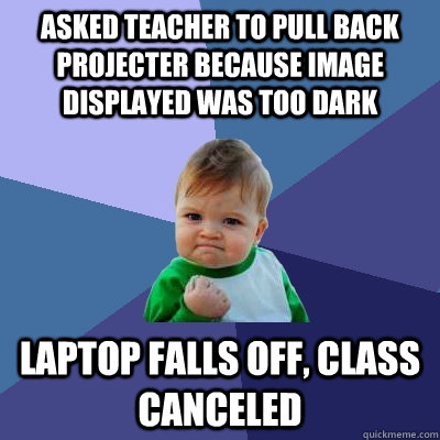 asked teacher to pull back projecter because image displayed - Success Kid