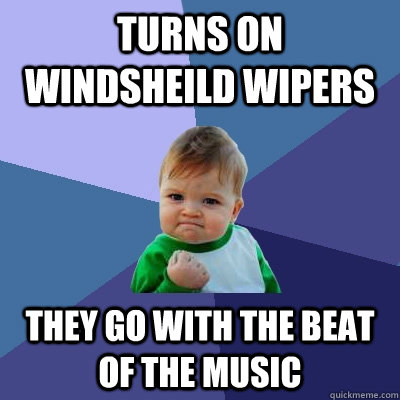 turns on windsheild wipers they go with the beat of the musi - Success Kid