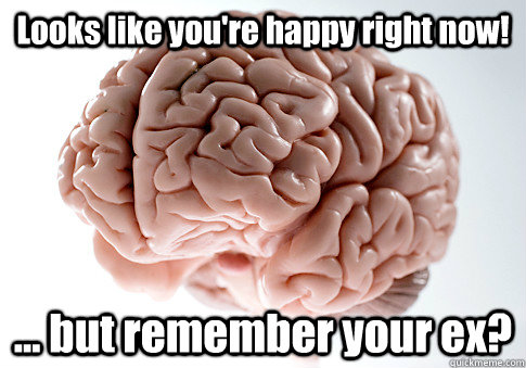 looks like youre happy right now but remember your ex - Scumbag Brain