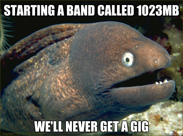 starting a band called 1023mb well never get a gig - Bad Joke Eel
