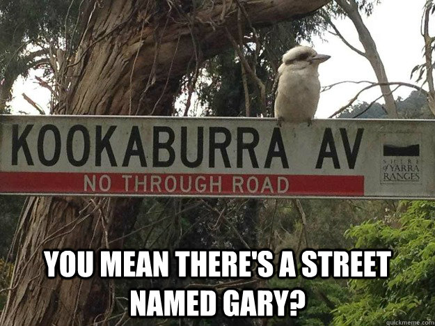 you mean theres a street named gary -