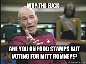 why the fuck are you on food stamps but voting for mitt romn - Annoyed Picard