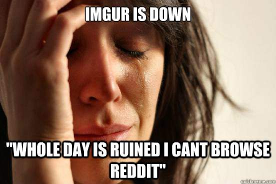 imgur is down whole day is ruined i cant browse reddit  - First World Problems