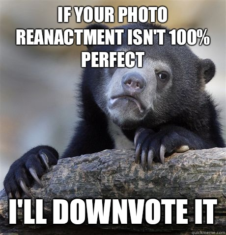 If your photo reanactment isnt 100 perfect Ill downvote it - Confession Bear
